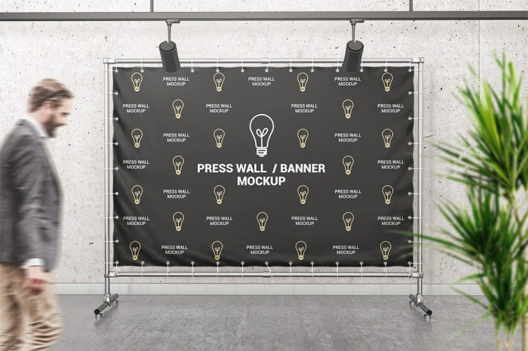 PVC Banner Hemmed Eyelets Press Wall Black
