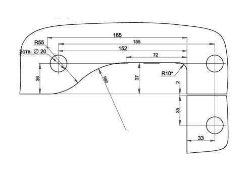Фитинг угловой соединительный с осью T-140 PSS вырезы