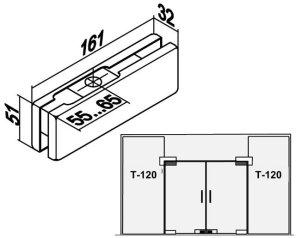 Фитинг верхний комплект T-120 SSS чертеж 1