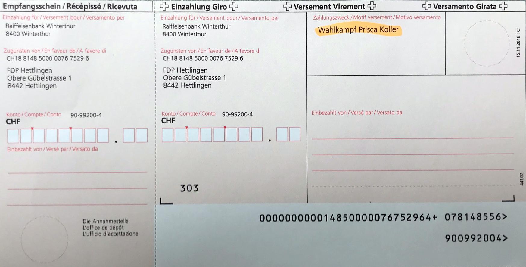 Ein Klick auf das Bild vergrössert den Einzahlungsschein.