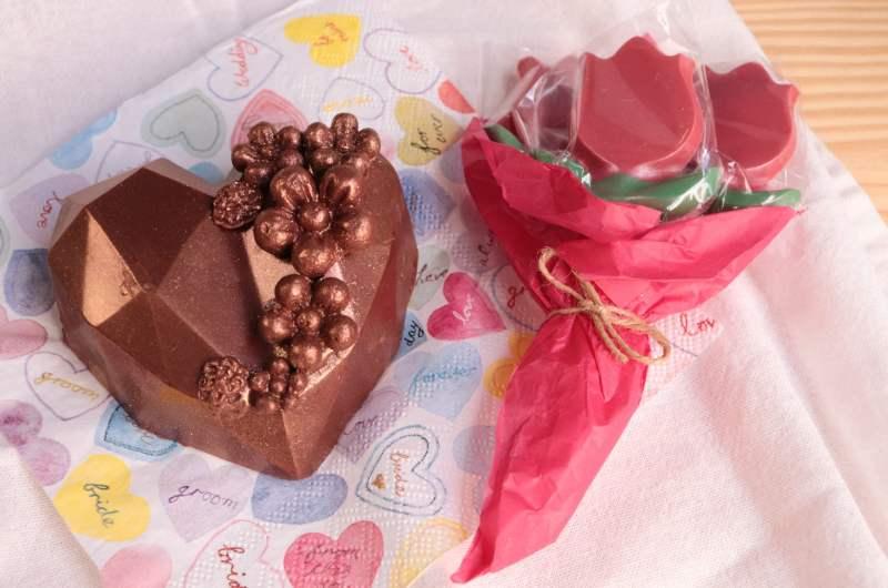 Kit Dia das mães: Coração Lapidado e Buquê de Chocolate