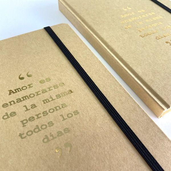 Bloc de notas kraft personalizado con frase romántica para novias y novios y para regalo de invitados 02