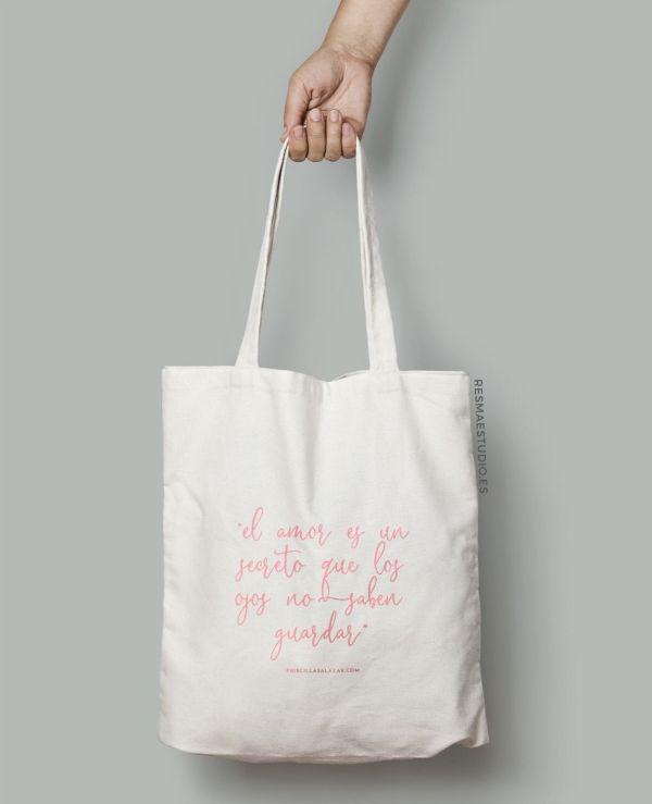 Bolsa de tela 100% algodón con frase motivadora