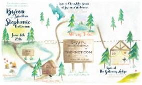 Wedding Invitation using watercolor paint and digital rendering