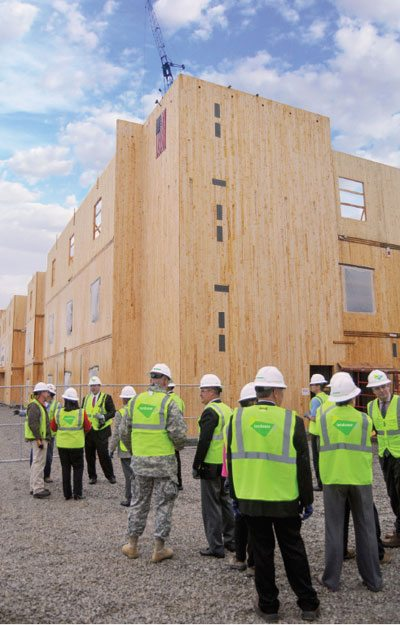 According to the updated WoodWorks Carbon Calculator, the new Candlewood Suites hotel at Redstone Arsenal, which is made entirely from cross-laminated timber, stores 1,276 metric tons of CO2 (equivalent) in its wood products. Credit: Lendlease
