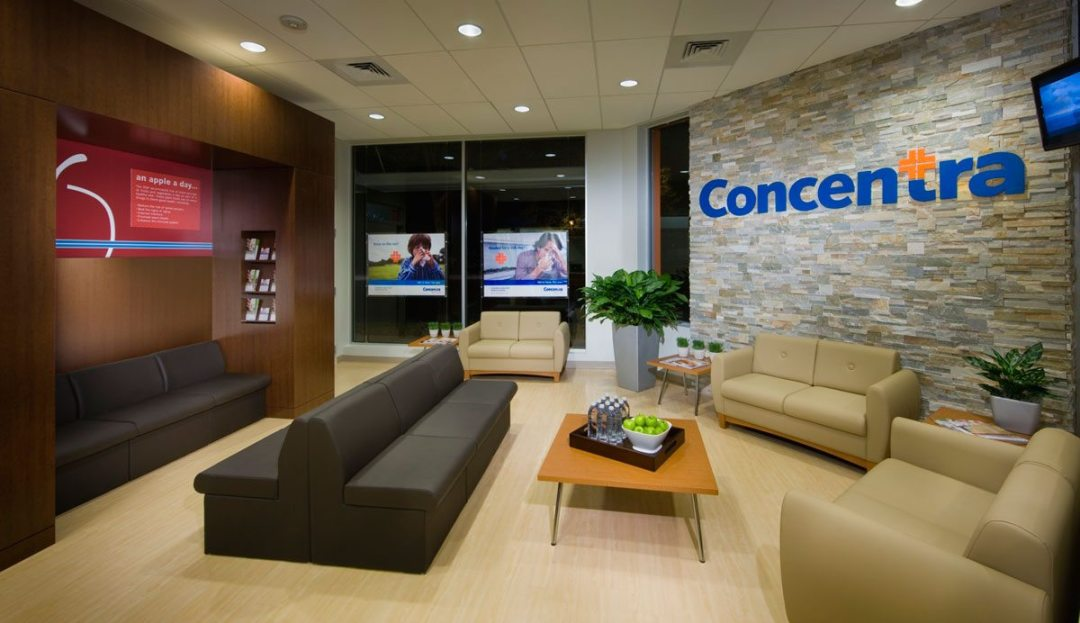 Concentra Urgent Care. This facility exemplifies a comfortable environment aiding in patient relaxation. Courtesy of Little.