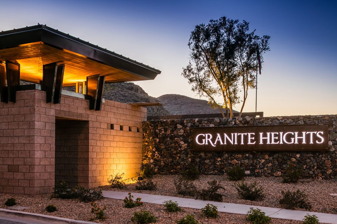 Granite Heights entry gate monument at twilight. Photo credit:  Christopher Mayer Photography