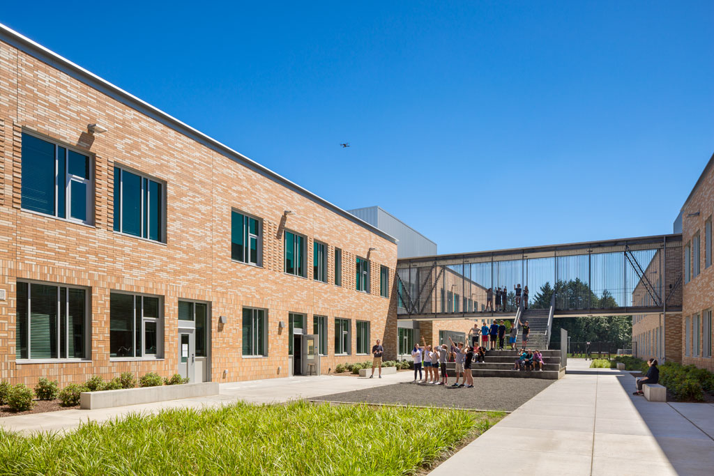 """""""The New Middle School at Beaverton School District contains seismic bracing designed to withstand a major earthquake. One of those steel x-braces was left exposed, to allow students to learn how the building is engineered to withstand an earthquake."""" Credit: © Josh Partee"""