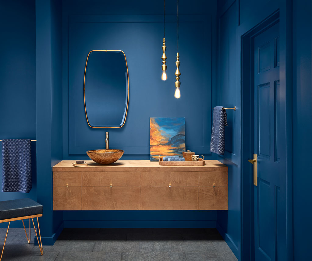 """""""Edging toward midnight, this dark blue is comforting, plush and a little mysterious."""" - Sue Kim, Valspar Sr. Color Designer"""