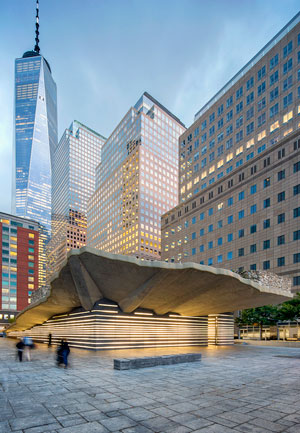 One of the solutions employed to waterproof the Monument was encapsulating its entire cantilevered concrete slab in the Kemper waterproofing membrane. The membrane was extended and wrapped around the edge of the slab for additional protection. The architects found a mineral surfacing system approved by Kemper that matched the finish of the concrete slab and incorporated it into the membrane. It completely hides the waterproofing, maintaining visual consistency with the original slab. Photo by Edward Menashy