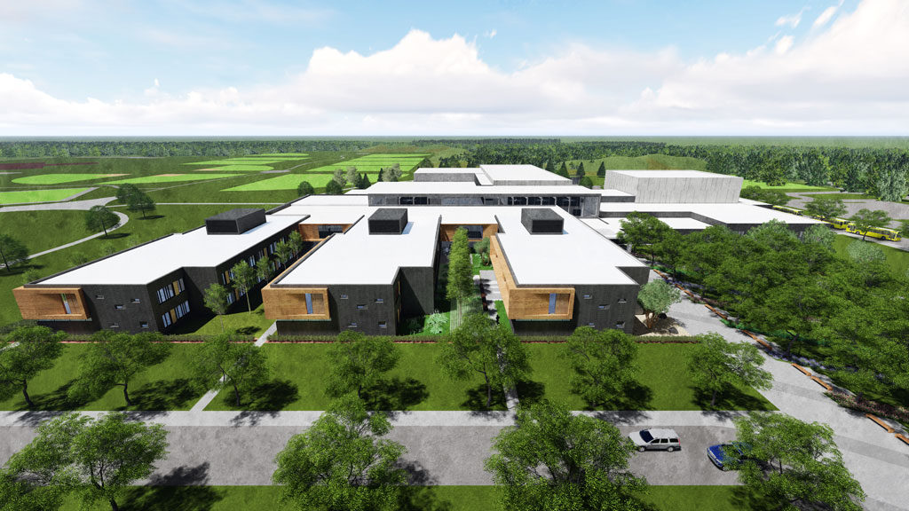 Sartell High School, Sartell-St. Stephen Independent School District, in Central Minnesota. Rendering by Cuningham Group