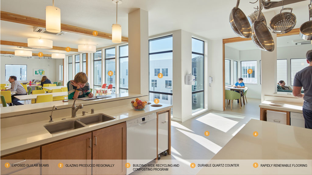 """The community kitchen with adjoining living area at each """"neighborhood"""" has ample daylight and space for families to interact. Instead of distributing kitchens in each dwelling unit, this """"neighborhood"""" kitchen space can be shared among 8-10 families - demonstrating an efficiency of space and materials. Image: © Bruce Damonte"""