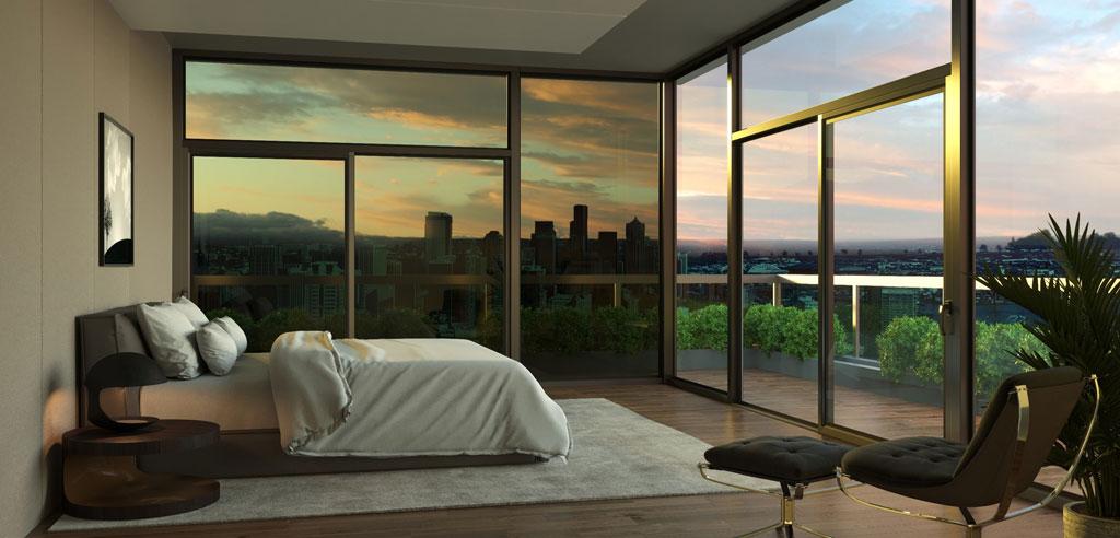 Bedroom sunrise tinted. Credit: Kinestral Technologies