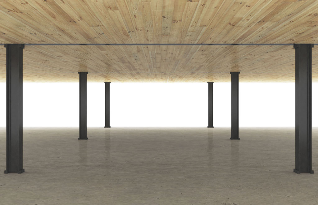 Steel and timber system rendering with cross-laminated timber floor planks, steel beams and columns and composite concrete topping slab. Rendering © Skidmore, Owings & Merrill LLP (SOM)