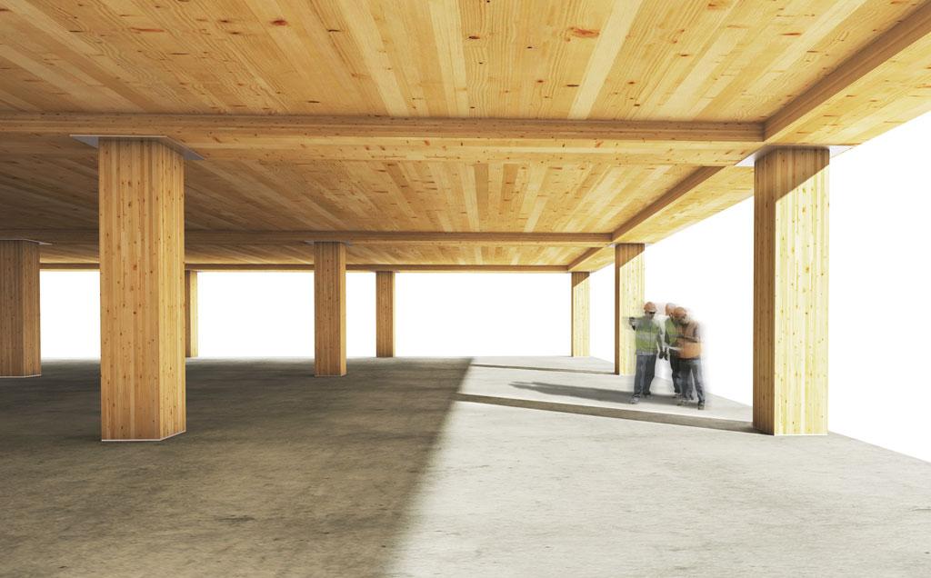 Composite timber floor system rendering for testing at Oregon State University. Rendering © Skidmore, Owings & Merrill LLP (SOM)