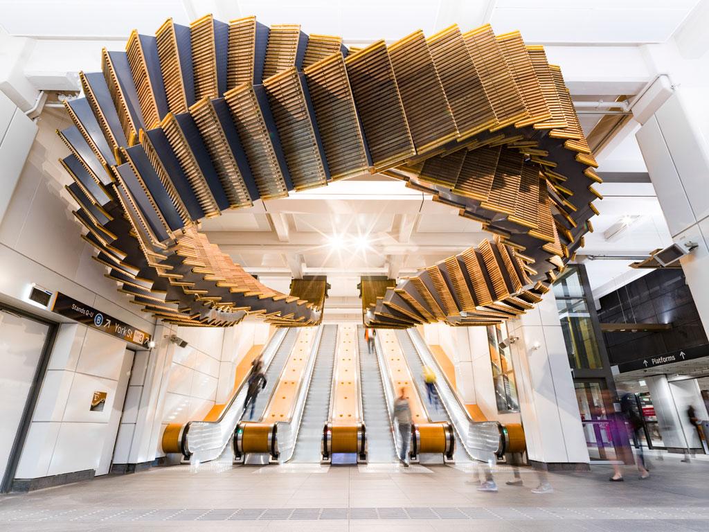 'Interloop' design, which sits above the main entrance of Wynard station, Sydney; designed by Studio Chris Fox. Credit: Chris Fox and Josh Raymond