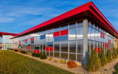 EXTECH's LIGHTWALL 3000 curtain wall accepts both IGUs and CPG panels in the same framing system