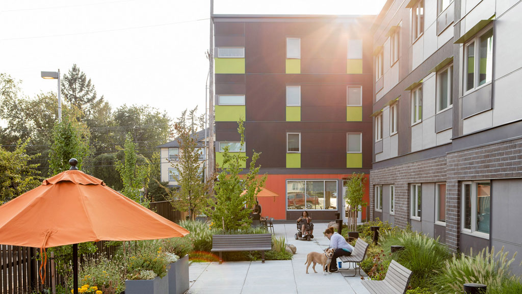 AIA/HUD Secretary's Award Category Four: Housing Accessibility–Alan J. Rothman Award recipient. Station 162 Apartments; Gresham, Oregon | DAO Architecture LLC. Credit: © Shawn Records Photography