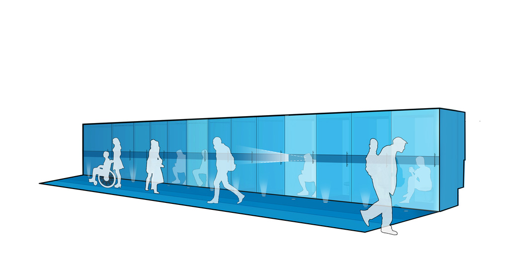 Recessed floor lights indicate unoccupied stalls: when users enter, they turn off and the stall glows from within. From the inside, users can surveil their surroundings through a one-way mirror band located at seated eye-level. Composting toilets treat human waste through aerobic decomposition. Image courtesy of JSA (Joel Sanders Architect) and Brenna Thompson (Yale School of Architecture)