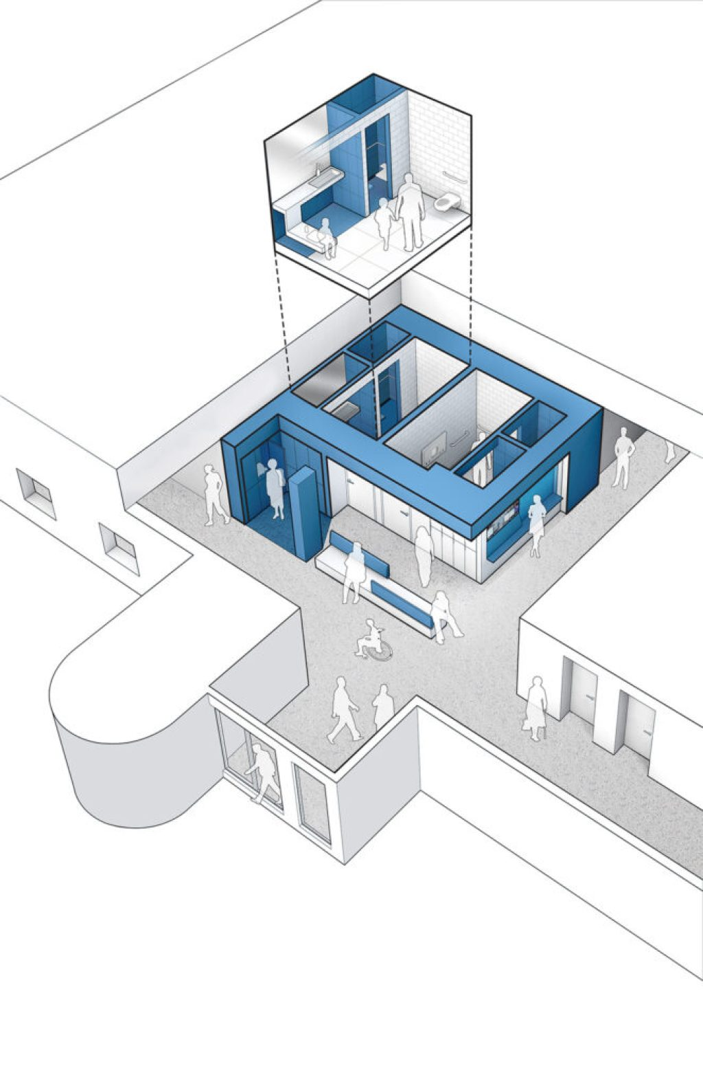 On the lower level of the Field House, we are creating two inclusive changing rooms. Located off the main entry, the all-gender changing rooms act as a vestibule that welcomes visitors entering the building. Image courtesy of JSA (Joel Sanders Architect) and Brenna Thompson (Yale School of Architecture)