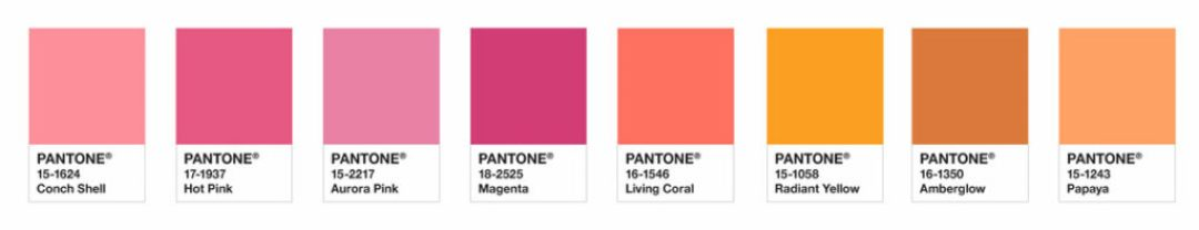 Bold and brilliant, a palette evocative of the dazzling portrait of color splashed across the sky as the sun rises and sets, one where PANTONE Living Coral energizes and enlivens, adding to our feelings of pleasurable warmth.