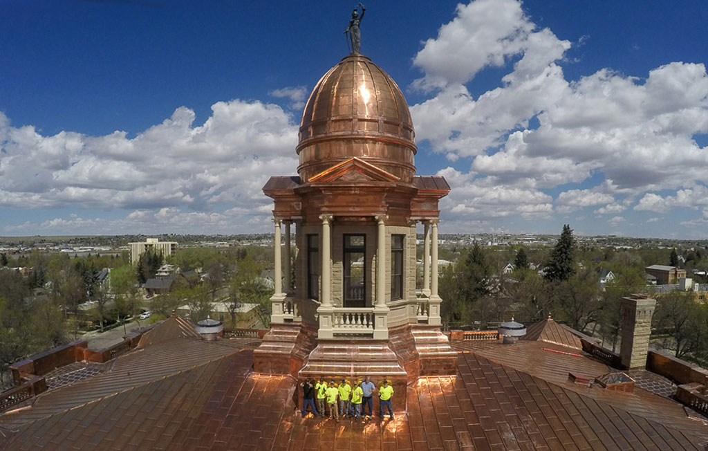 The Renaissance Roofing team on the completed roof. Courtesy of Renaissance Roofing, Inc.