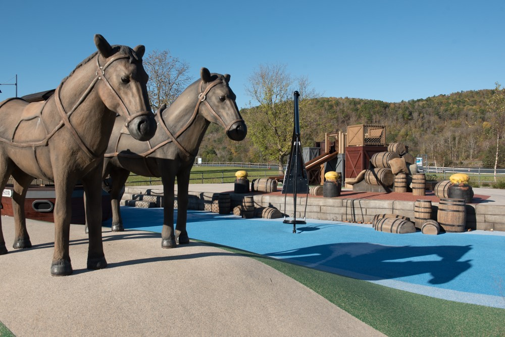 A canal-themed play area at the Mohawk Valley Welcome Center reflects the region's ties to the nearby Erie Canal. Courtesy of Stantec