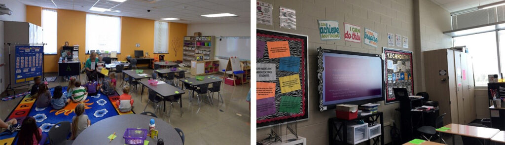 At left: User comments at classrooms with punched windows and controls, showed much higher satisfaction with daylighting. At right: Blinds were added to classrooms but were left permanently shut above light shelves and inaccessible. Despite this, content on smartboards is not visible from parts of the classroom.
