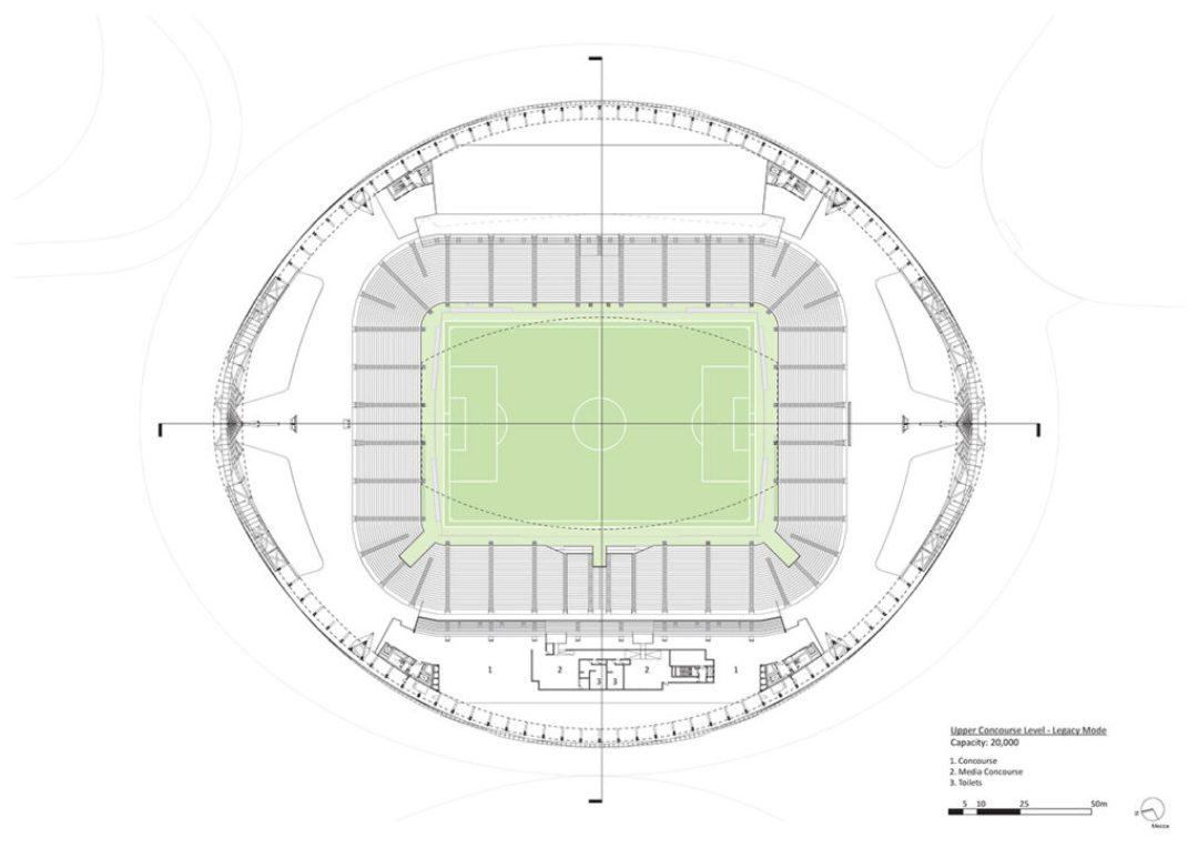 Upper Concourse Legacy Mode – Capacity: 20,000. Courtesy of Zaha Hadid Architects