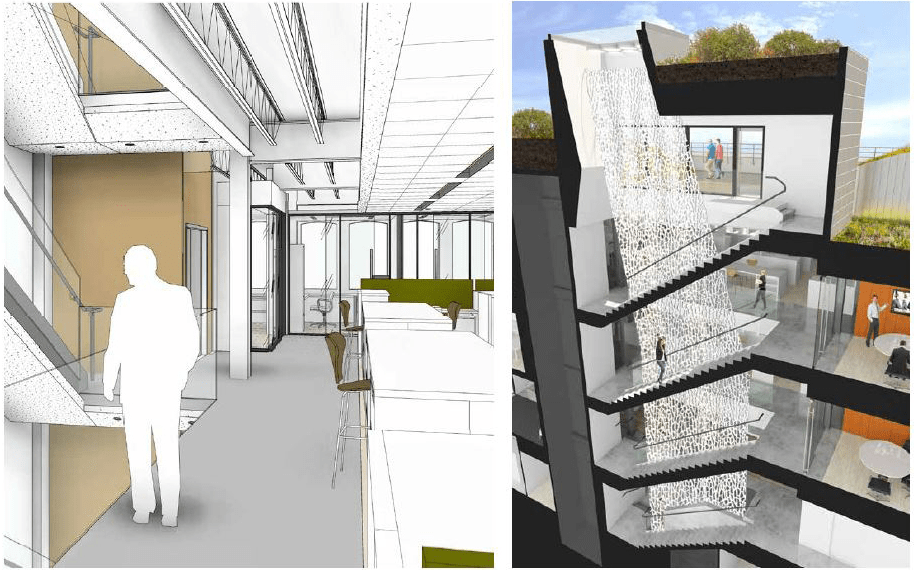 Daylight through the stairwells, conceptual rendering. Credit: Gensler