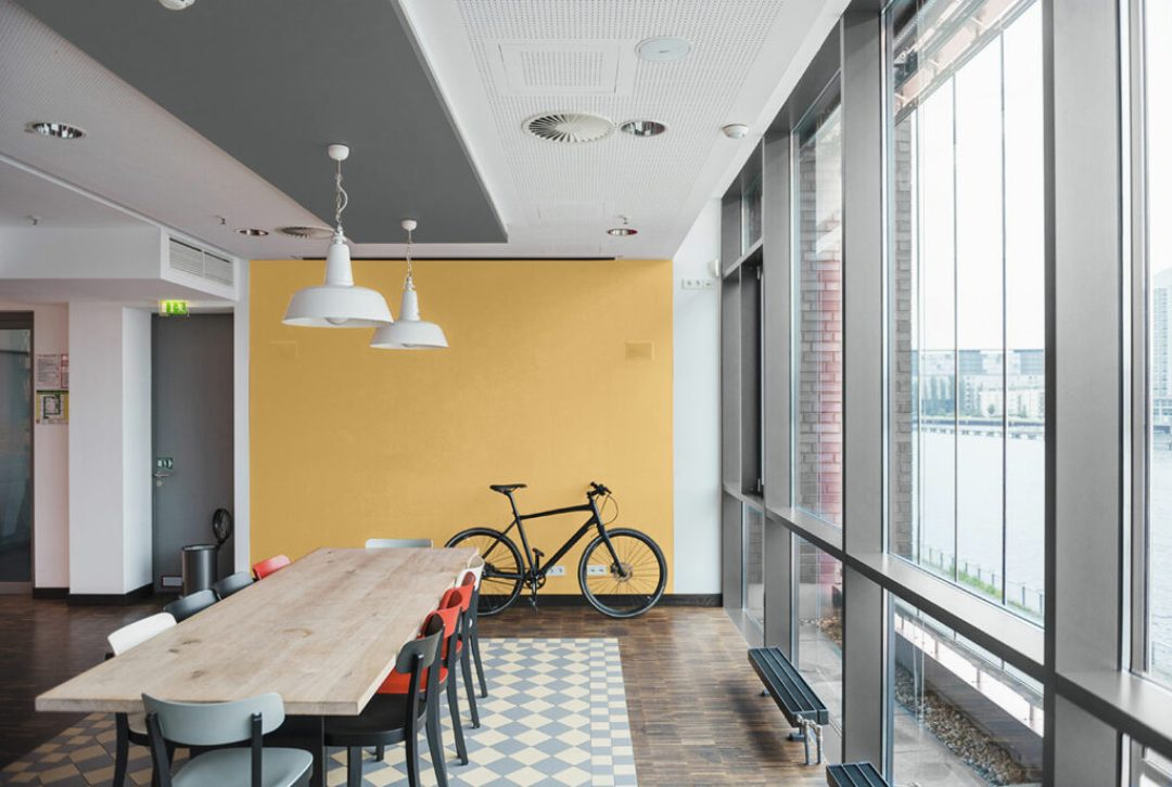 """Modern with layered compositions of subtle pastels and neutrals, this family of colors results in a dynamic yet deliberate color story appeal. """"The Atmospheric palette resounds with both modern and traditional environments, making it a great choice for multifamily housing or other commercial spaces,"""" says Woelfel."""