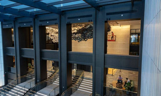 """""""In the Heart of this Infinite Particle of Galactic Dust, 2019"""" sculpture transforms Willis Tower's Wacker Drive lobby"""