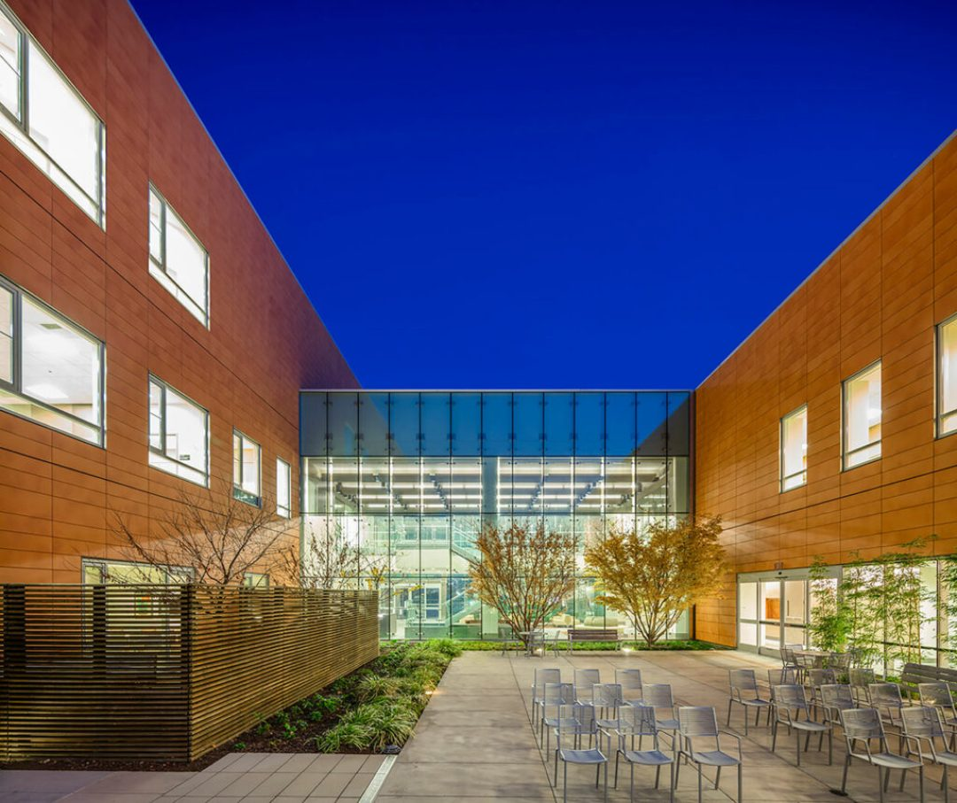 Central court: the main courtyard and transparent lobby entrance emphasize the building's interior and exterior connection. Photo: © Tim Griffith and Kyle Jeffers