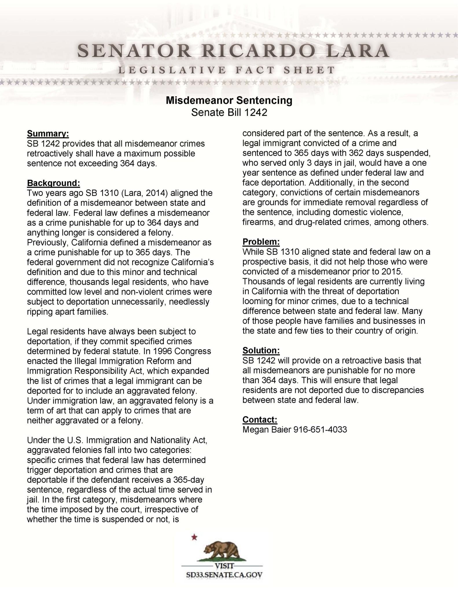 Sb Retroactive Misdemeanor Definition Factsheet