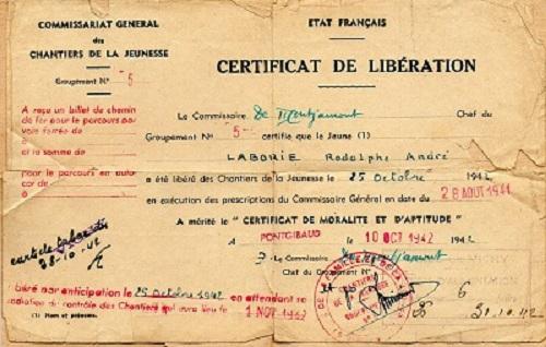 chantiers de jeunesse certificat de libération groupement 5 1941