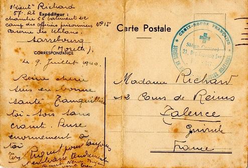 Croix Rouge Française avis de capture Caserne des Uhlans Sarrebourg