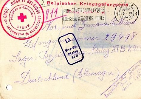 Croix-Rouge Belge prisonnier de guerre belge en captivité stalag XI B