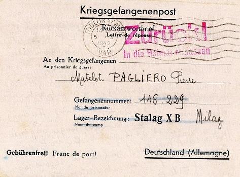 correspondance marin français 1942 milag stalag 10 B