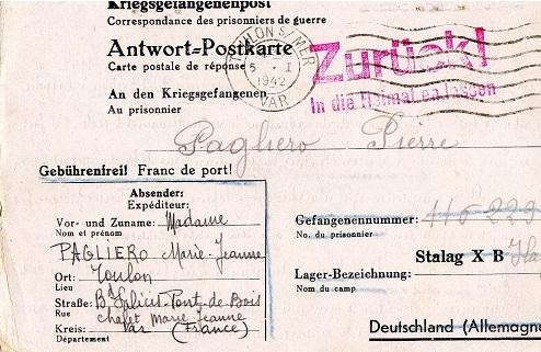 correspondance marin français 1942 ilag marlag milag stalag 10 B