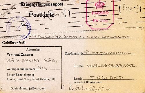 correspondance marin britannique 1944 Marlag M stalag 10 B