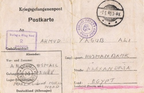 correspondance marin égyptien 1942 Marlag Milag nord stalag 10 B