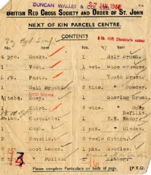 contenu colis croix rouge britannique 1944 Marlag Milag