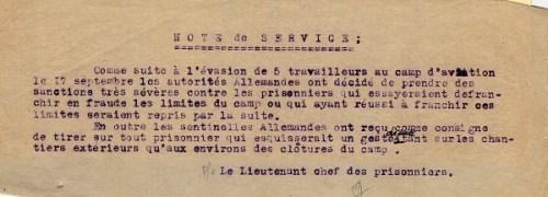 prisonniers de guerre camp de prisonniers français camp de Mulsanne note de service 1