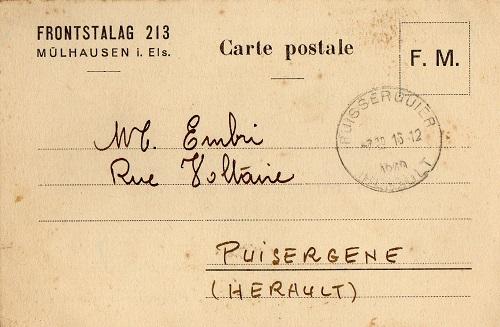 prisonniers de guerre français camp de prisonniers front-stalag 213 Mulhouse