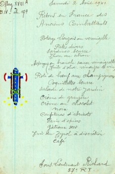 menu prisonnier de guerre oflag xvIII A retour en france