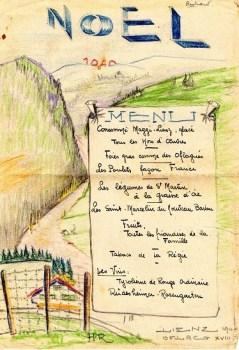 menu prisonnier de guerre oflag xvIII A repas de Noel 1940