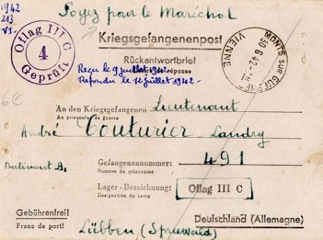 slogan pour Pétain sur lettres de prisonnier de guerre