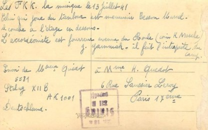 STALAG X II B LA MUSIQUE LE 13 JUILLET 1941 recto