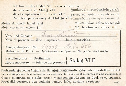 déclaration de changement de stalag d'un prisonnier de guerre