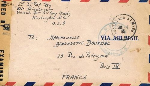 mission militaire française de l'armée de l'air aux usa 1945